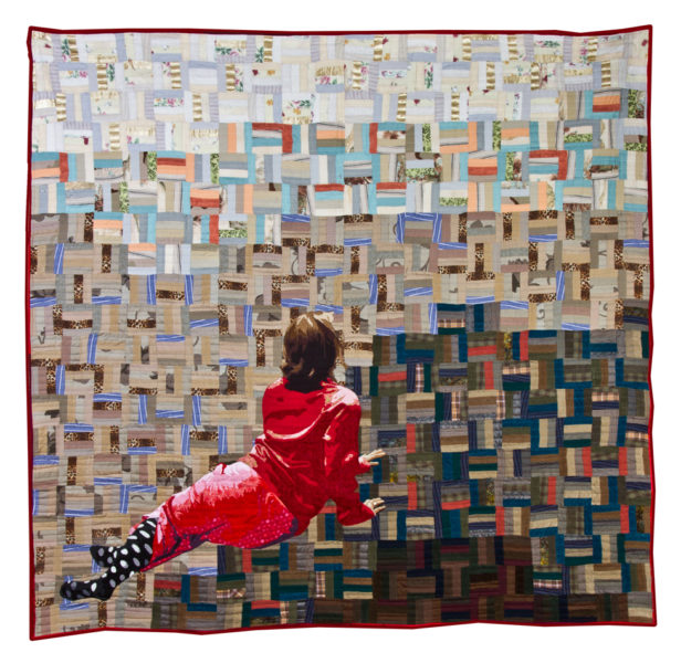 Luke Haynes, [The American Context #16] Christina's World, 2012, used clothing, new fabric, cotton batting, and thread on fabric, 110 × 90 inches. Museum purchase with funds provided by 2015 Collectors' Circle, 2015.28. © Luke Haynes.