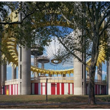 """Jade Doskow, New York 1964 World's Fair, """"Peace Through Understanding,"""" New York State Pavilion (Fresh Paint), 2017, archival pigment print on paper, edition 1/5, 40 × 50 inches. Museum purchase with funds provided by the Nat C. Myers Fund for Photography."""