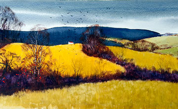Tore Asplund, Autumn Fields, circa 1950, watercolor on paper, 13 1/2 x 38 5/8 inches. Gift of the National Academy of Design Henry W. Ranger Fund, 1953.1.22