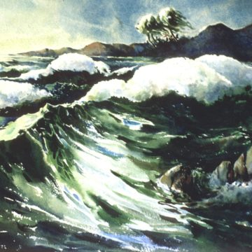 Lindsey Gudger, Wind, Nassau, 1957, watercolor on paper, 11 1/4 x 16 inches. Museum purchase, 1957.1.22
