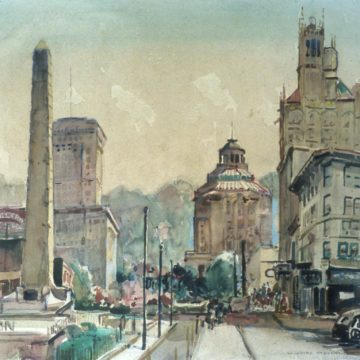 William Lester Stevens, Pack Square, circa 1950, watercolor on paper, 19 1/2 x 25 1/4 inches. Museum purchase, 1958.6.22