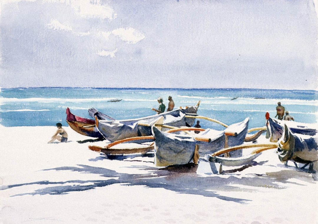 Emil J. Kosa, Jr., Waikiki, circa 1968, watercolor on paper, 21 3/4 x 30 inches. Gift of the National Academy of Design, Henry W. Ranger Fund, 1970.1.22. © Estate of Emil J. Kosa Jr.