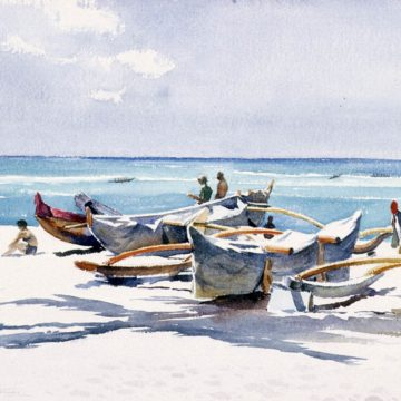 Emil J. Kosa, Jr. Waikiki, circa 1968, watercolor on paper, 21 3/4 x 30 inches. Gift of the National Academy of Design, Henry W. Ranger Fund, 1970.1.22