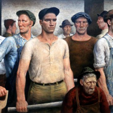 James Ormsbee Chapin, Nine Workmen, 1942-1945, oil on canvas, 42 ¾ × 57 ¾ inches. Museum purchase, 1985.04.2.21.