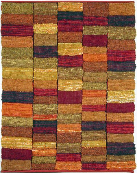 Suzanne Davis, Rhythmic Volumns, 1974, fiber tapestry, 96 x 72 inches. Gift of Dr. & Mrs. Asrael, 1991.18.72. © Suzanne Davis.
