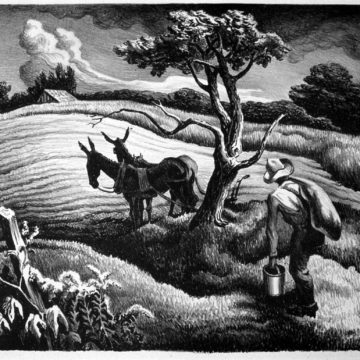 Thomas Hart Benton, Approaching Storm, 1938, lithograph on paper, edition of 200, published by the Print Club of Cleveland, 9 ¼ × 12 ¼ inches. Gift of Dr. & Mrs. J. L. Orbison, 1991.19.1.61. © Estate of Thomas Hart Benton / Artists Rights Society (ARS), New York