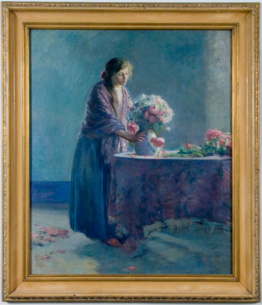 Myron G. Barlow, Woman Arranging Flowers, circa 1915, oil on canvas, 39 × 31 inches. Gift of Mrs. Charles M. Butler, 1997.02.01.21.