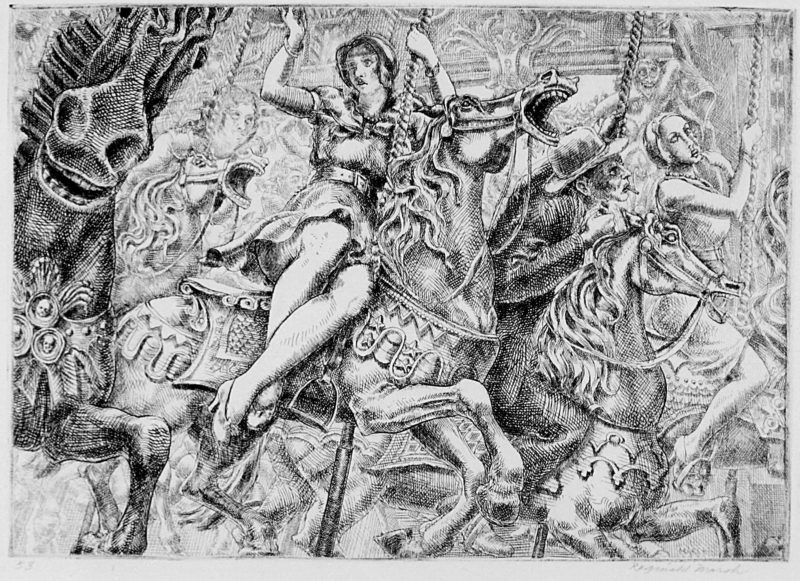 Reginald Marsh, Merry-Go-Round, 1930, etching and engraving on paper, edition 53/59, plate: 6 ⅞ × 9 ⅞ inches. Gift of Dr. Herbert S. Johnson, 1997.05.63. © Estate of Reginald Marsh / Art Students League, New York / Artists Rights Society (ARS), New York.