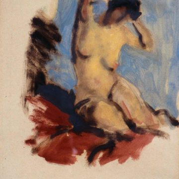Robert Henri, Seated Nude on Red Blanket, 1912, oil on paper, 19 × 10 inches. Museum purchase, 1998.15.21.