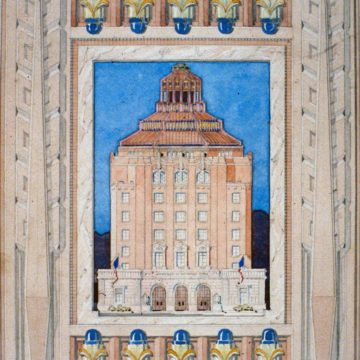 Douglas D. Ellington, City Building of Asheville with Decorative Border, 1928, watercolor and tempera on paper, 11 ¼ × 8 ⅛ inches. Gift of Sallie Ellington Middleton, 1998.16.001.22. © Estate of Douglas D. Ellington.