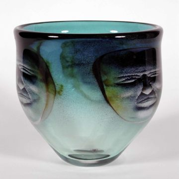 Ken Carder, Bowl, 1986, blown glass with inclusions, 7 3/8 × 7 7/8 × 7 7/8 inches. Gift of Delphia Allen Lamberson & Hoke Smith Holt, 1998.20.50. © Ken Carder.