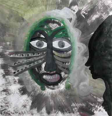 Lonnie B. Holley, Teaching My Child How to See Grandmother's Mask, 1992, acrylic on paper, 27 ⅜ × 26 ¼ inches. Gift of Delphia Allen Lamberson & Hoke Smith Holt, 2002.01.04.24. © Lonnie B. Holley / Artists Rights Society (ARS), New York.