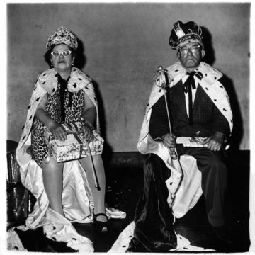 Diane Arbus, The King and Queen of a Senior Citizen's Dance, N.Y.C., 1970, gelatin silver print, 14 ¾ × 14 ½ inches. Gift of Ted Mitchell in memory of Lotte Lenya, 2004.02.91. © Estate of Diane Arbus.