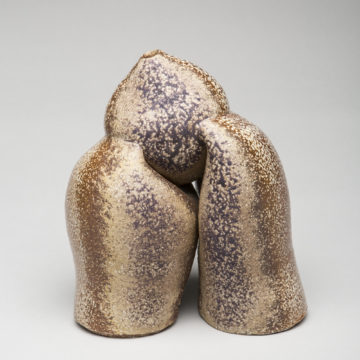 Karen Karnes, Untitled Sculpture, 2003, wood-fired and glazed stoneware, 8 ½ × 5 ⅜ inches. Black Mountain College Collection, Museum purchase with funds provided by June & Vito Lenoci, Helga & Jack Beam, and Pamela L. Myers in memory of James Roy Moody, 2004.11.85.