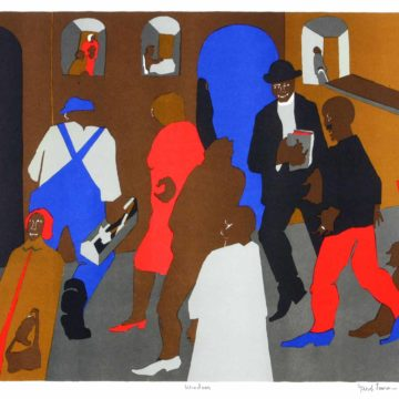 Jacob Lawrence, Windows, 1977, offset lithograph, edition 64/300, 17 ⅞ × 21 ⅞ inches. Black Mountain College Collection, gift of the Midgard Foundation, Phillip C. Broughton, and David L. Smith, 2004.14.61. © Estate of Jacob Lawrence / Artists Rights Society (ARS), New York.