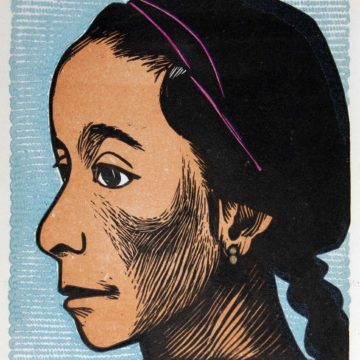 Elizabeth Catlett, Niña, 1957, linocut, 6 × 5 ⅛ inches. 2004 Collectors' Circle purchase, 2004.24.01.66. © Catlett Mora Family Trust / Artists Rights Society (ARS), New York.