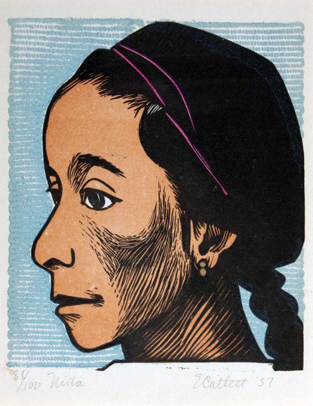 Elizabeth Catlett, Niña, 1957, linocut, 6 × 5 ⅛ inches. 2004 Collectors' Circle purchase, 2004.24.01.66. © Catlett Mora Family Trust / Artists Rights Society (ARS), New York.