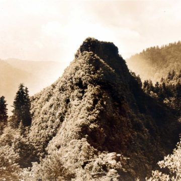 George Masa, Chimney Top at Sunset, the Great Smoky Mountains National Park, circa 1920, gelatin silver print, 7 ¼ × 9 ⅛ inches. Museum purchase with funds provided by the Nat C. Myers Photography Fund, 2005.02.03.91.