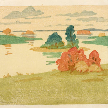 Arthur Wesley Dow, Flood Tide, circa 1916, color woodcut on paper, 6 ½ × 8 ¼ inches. Museum purchase with funds provided by 2005 Collectors' Circle with additional funds provided by Rob Pulleyn, Phillip Broughton & David Smith, and Mary Powell, 2005.16.02.65.