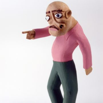 Sulton Rogers, Untitled Man with Pink Shirt and Green Pants, not dated, carved and painted wood, 12 ½ × 4 × 6 inches. Museum purchase, 2006.11.02.32.