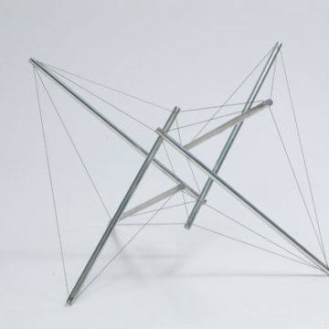 Kenneth Snelson, Northwood II, 1970, aluminum rods and cable on aluminum rods, 13 ¾ × 11 ⅜ × 12 ⅛ inches. Black Mountain College Collection, gift of Joyce Cole, 2006.17.33. © Estate of Kenneth Snelson