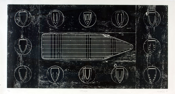Willie Cole, Stowage, 1997, woodcut on kozo-shi paper, edition 6/16, 49 ⅛ × 95 inches. Museum purchase with funds provided by 2006 Collectors' Circle with additional funds provided by Ray Griffin & Thom Robinson, Phillip Broughton & David Smith, Nat & Anne Burkhardt, Randy Shull & Hedy Fischer, Joen Goodman, and Susan Turner. 2006.27.65. © Willie Cole.