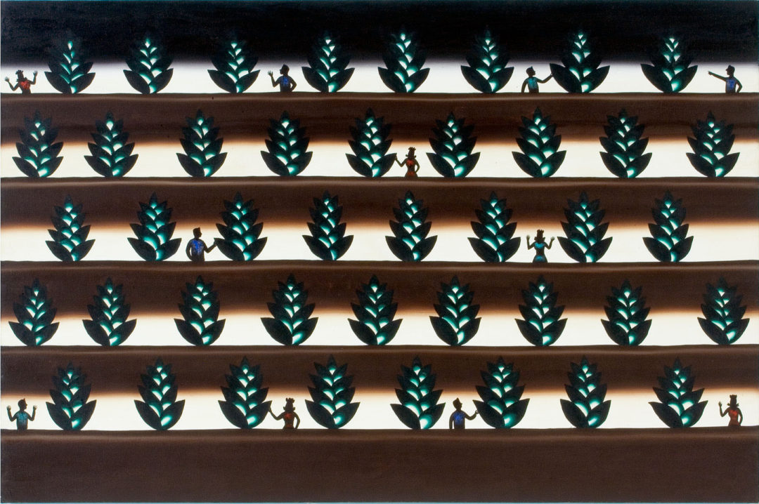 Roger Brown, Plants That Glo in The Dark Tra-La, 1986, oil and phosphorescent paint on canvas, 48 × 72 inches. Museum purchase with funds provided by The Chaddick Foundation, 2006 Collectors' Circle, Mary Powell, R.K. Benites & Dr. Michael J. Teaford, and Delphia Allen Lamberson, 2007.08.20. © Roger Brown Study Collection.