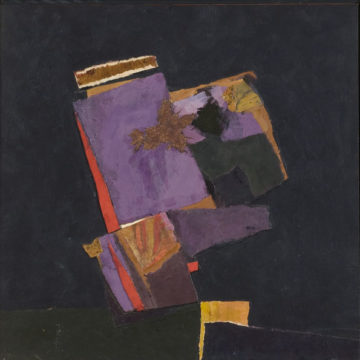 John Urbain, Lavender Night, 1979, acrylic and collage on board, 14 ⅞ × 15 inches. Black Mountain College Collection, gift of Lorna Blaine Halper, 2007.27.05.29.