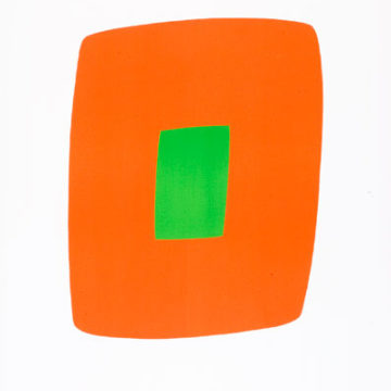 Ellsworth Kelly, Orange with Green (Orange avec vert) from Suite of Twenty-Seven Color Lithographs, 1964–65, color lithograph, Maeght Éditeur, Paris, publisher, Maeght Imprimerie, Levallois-Perret, France, printer, 35 ¼ × 23 ⅝ inches. Gift of Atlas Kinzel, 2008.04.61. © Ellsworth Kelly Foundation