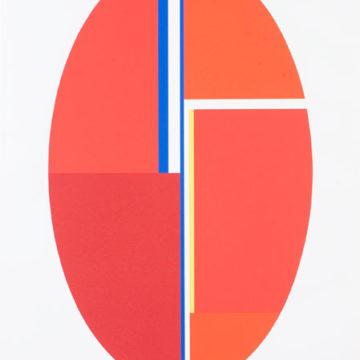 Ilya Bolotowsky, Untitled (Red Ellipse), circa 1975, screenprint on paper, edition 28/144, published by Charles Cardinale/Serigraph/Fine Creations Inc., 43 × 32 inches. Black Mountain College Collection, Museum purchase, 2008.10.03.64. © Estate of Ilya Bolotowsky / Artists Rights Society (ARS), New York