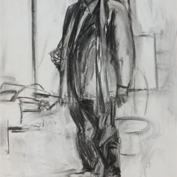 Elaine de Kooning, Portrait of Aristodimos Kaldis, 1976, charcoal on paper, 29 ½ × 20 ½ inches. Black Mountain College Collection, Museum purchase, 2008.15.43. © Elaine de Kooning Trust