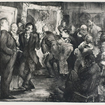 George Wesley Bellows, Artists Judging Works of Art, 1916, lithograph on paper, 14 ½ × 19 inches. Museum purchase with funds provided by the Midgard Foundation with additional support from R.K. Benites, 2008.18.61.