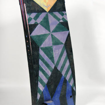 Norm Schulman, Arlecchino and Jester, 1985-2005, engobe painted, glazed stoneware, 51 ½ × 18 ¼ × 14 inches. Gift of the Artist, 2009.08.35. © Estate of Norm Schulman