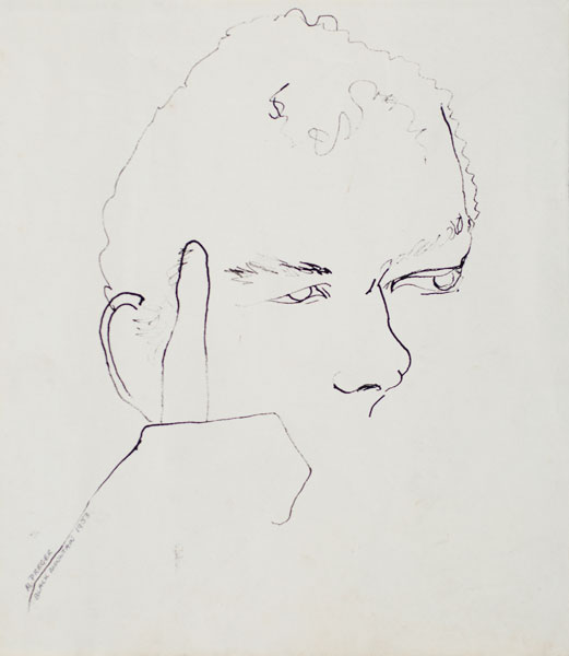 Marianne Preger-Simon, Portrait of Merce Cunningham, 1953, ink on paper, 11 ⅜ × 10 inches. Black Mountain College Collection, gift of the Artist, 2009.17.12.41. © Marianne Preger-Simon