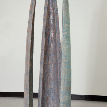 Stoney Lamar, Blue Tree Shoes, 2009, walnut, steel, and milk paint on wood, 73 × 20 × 22 inches. Museum purchase with funds provided by John & Robyn Horn and Blue Spiral 1, 2009.26.30. © Stoney Lamar.