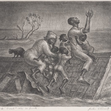 John Steuart Curry, Mississippi Noah, 1934, lithograph on paper, image: 10 ½ × 14 inches; sheet: 13 × 17 ¾ inches. Gift of Dr. Mary Frances Gardner, 2010.09.61. © Estate of John Steuart Curry