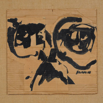 Fielding Dawson, Charles Olson, 1956, ink and collage on cardboard, 11 ⅞ × 12 ½ inches. Black Mountain College Collection, gift of the Estate of Jonathan Williams, 2010.20.29.