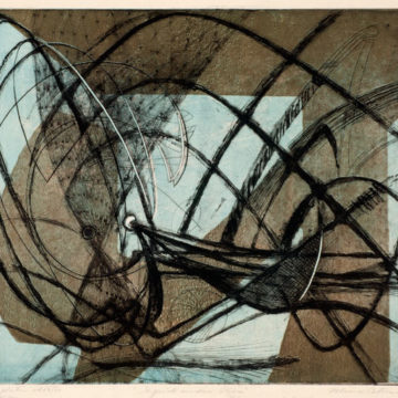 Minna Wright Citron, Squid Under Pier, 1948, color etching, soft-ground, and engraving on paper, edition 42/50, image: 16 x 19 ½ inches; sheet: 17 ¼ x 21 ½ inches. 2010 Collectors' Circle purchase, 2011.01.01.60. © Estate of Minna Wright Citron / Artists Rights Society (ARS), New York