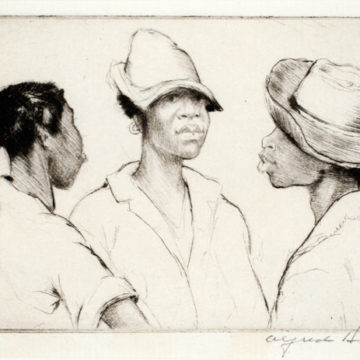 Alfred Heber Hutty, Morning Gossip, 1950, drypoint on paper, 2 ½ × 3 ¼ inches. Museum purchase with funds provided by 2010 Collectors' Circle member Rob Pulleyn, 2011.05.62.