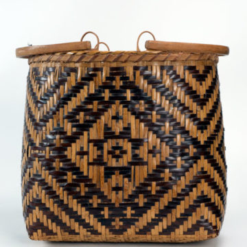 Eva Wolfe, Purse Basket, not dated, rivercane with walnut dye, 13 ¼ × 13 ½ × 8 ½ inches. 2010 Collectors' Circle purchase, 2011.24.01.58.