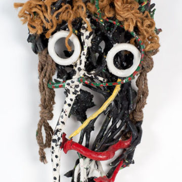 Bessie Harvey, Untitled Mask, not dated, assemblage on wood, 20 ¼ × 11 ½ × 5 inches. Museum purchase, 2011.24.03.29.