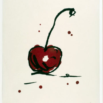 Claes Oldenburg, Cherry, 1991, color woodcut on rice paper, edition 24/100, 26 × 18 ½ inches. Gift of Ray Griffin & Thom Robinson, 2011.30.05.65. © Claes Oldenburg.
