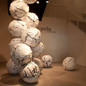 Hoss Haley, Cycle, 2012, shaped, recycled, and enameled steel, 142 x 77 x 67 inches. Museum commission with funds from the Windgate Charitable Foundation, 2012.02.33. © Hoss Haley.