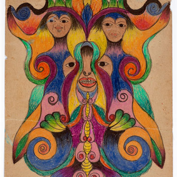 Minnie Evans, Untitled, not dated, colored pencil on brown paper, 11 ¾ × 9 inches. Gift of Randy Siegel, 2012.08.42.