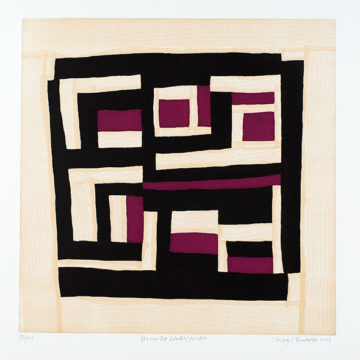 Mary Lee Bendolph, Housetop Black/Purple, 2005, color soft-ground etching and aquatint on paper, edition 32/50, image: 24 ¼ × 24 ½ inches; sheet: 32 ⅞ × 30 ⅝ inches. Museum purchase with funds provided by 2011 Collectors' Circle, 2012.15.63. © Mary Lee Bendolph / Artists Rights Society (ARS), New York