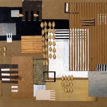 Faith Murray Britton, Matière Study, 1941, collage on cardboard, 13 ½ × 18 ¼ inches. Black Mountain College Collection, gift of Black Mountain College Project, 2012.26.01.29.