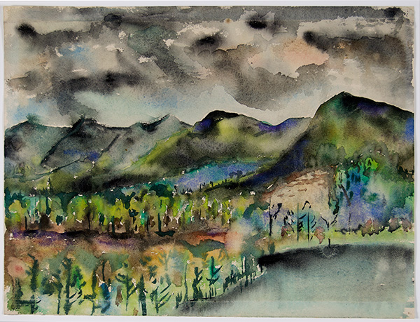 Joseph Fiore, Black Mountain Lake Eden, 1954, watercolor on paper, 12 ⅝ × 18 inches. Black Mountain College Collection, gift of the Falcon Foundation, 2012.53.01.22. © The Falcon Foundation