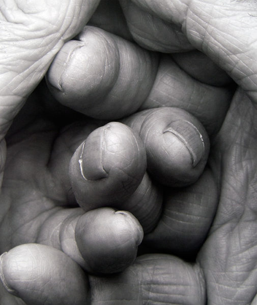 John Coplans, Interlocking Fingers, No. 17, 2000, gelatin silver print on paper, edition 1/3, 47 × 39 inches. 2013 Collectors' Circle purchase, 2013.34.01.91. © The John Coplans Trust