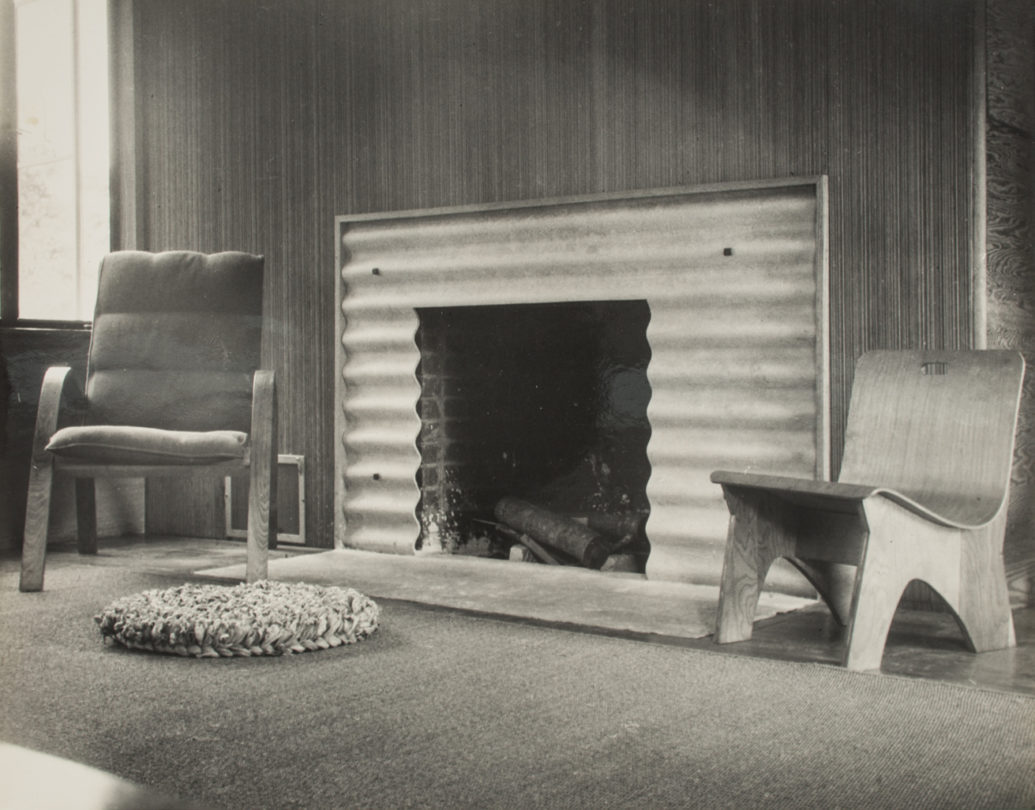 View of Fireplace with Chairs Designed by Lawrence Kocher