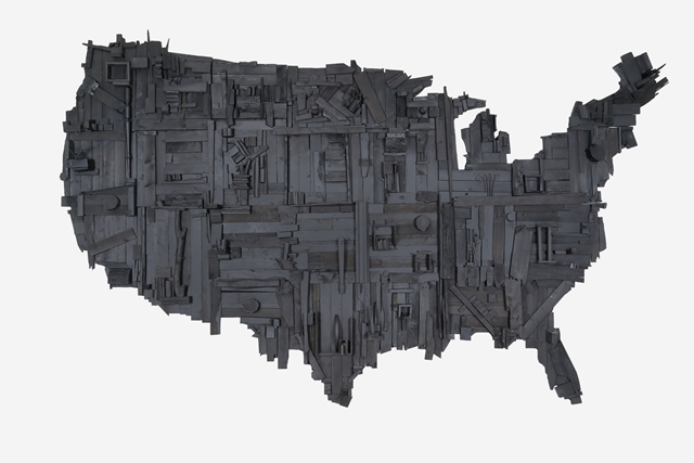 Wesley Clark, My Big Black America, 2015, stain, spray paint, latex, and salvaged wood, 192 × 120 × 14 inches. Museum purchase with major support from 2017 A.R.T. members Ron & Nancy Edgerton, Kevin Click, Butch & Kathy Patrick, Rick & Maggi Swanson, and Monty McCutchen & Terri Sigler, and additional contributions from 2017 A.R.T. members Miller & Constance Williams, 2017.39.01. © Wesley Clark